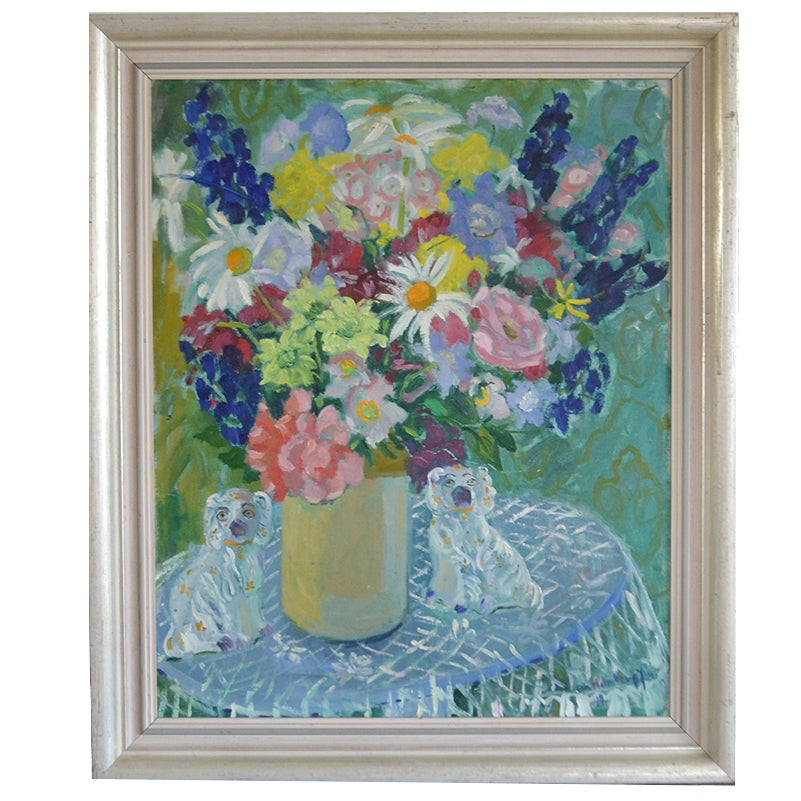 Image of 1942 Painting, 'Flowers and China Dogs,' Eva Holmberg Jacobsson