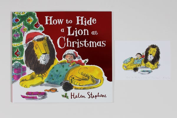 Image of NEW Paperback How to Hide a Lion at Christmas signed book and giclée print