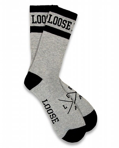 Image of Grey Loose Riders ringed cotton socks