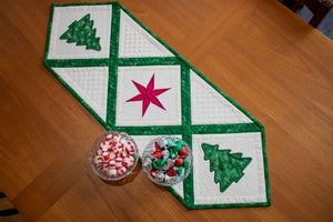 Image of Christmas Tree and Star Holiday Table Runner
