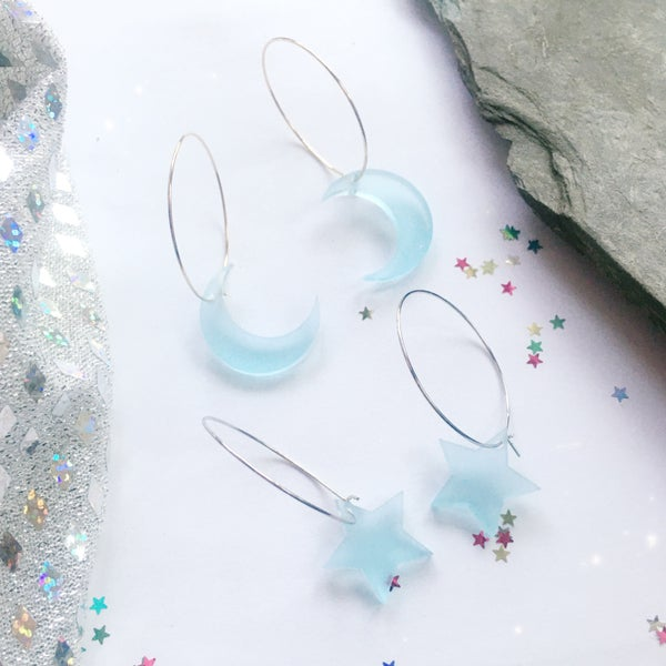 Image of Frost Blue Moon / Star Hoop Earrings