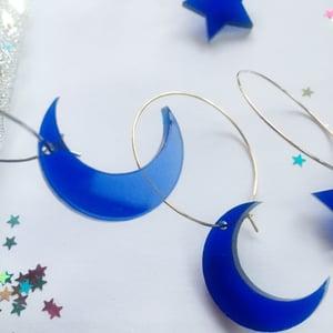 Image of Midnight Blue Moon / Star Hoop Earrings