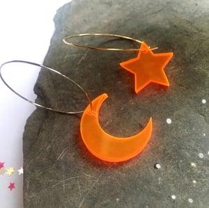 Image of Neon Orange Moon / Star Hoop Earrings