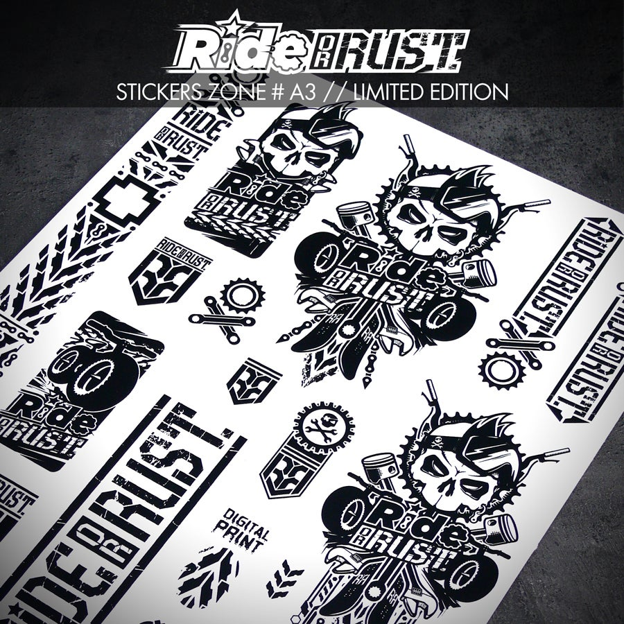 Image of RIDE OR RUST STICKERS BOARD