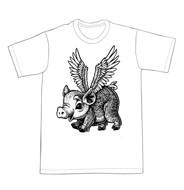 Image of No time like the present Flying Pig T-hirt **FREE SHIPPING**