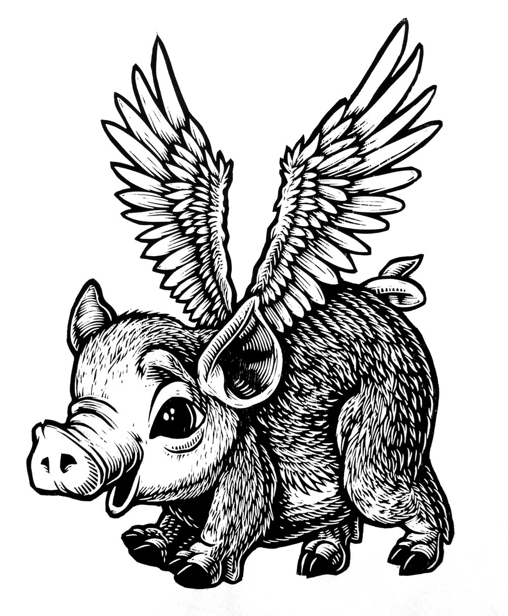No time like the present Flying Pig T-hirt (B3) **FREE SHIPPING**