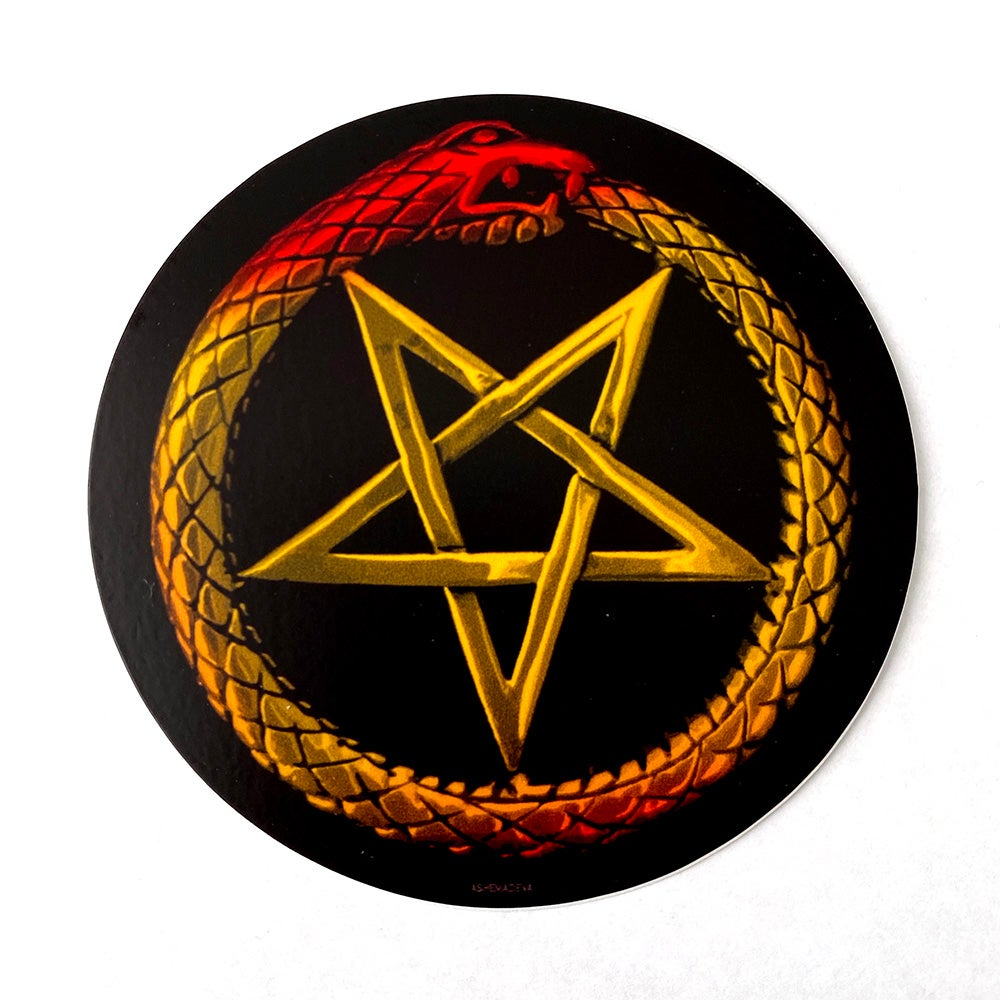 Ouroboros Pentagram Sticker