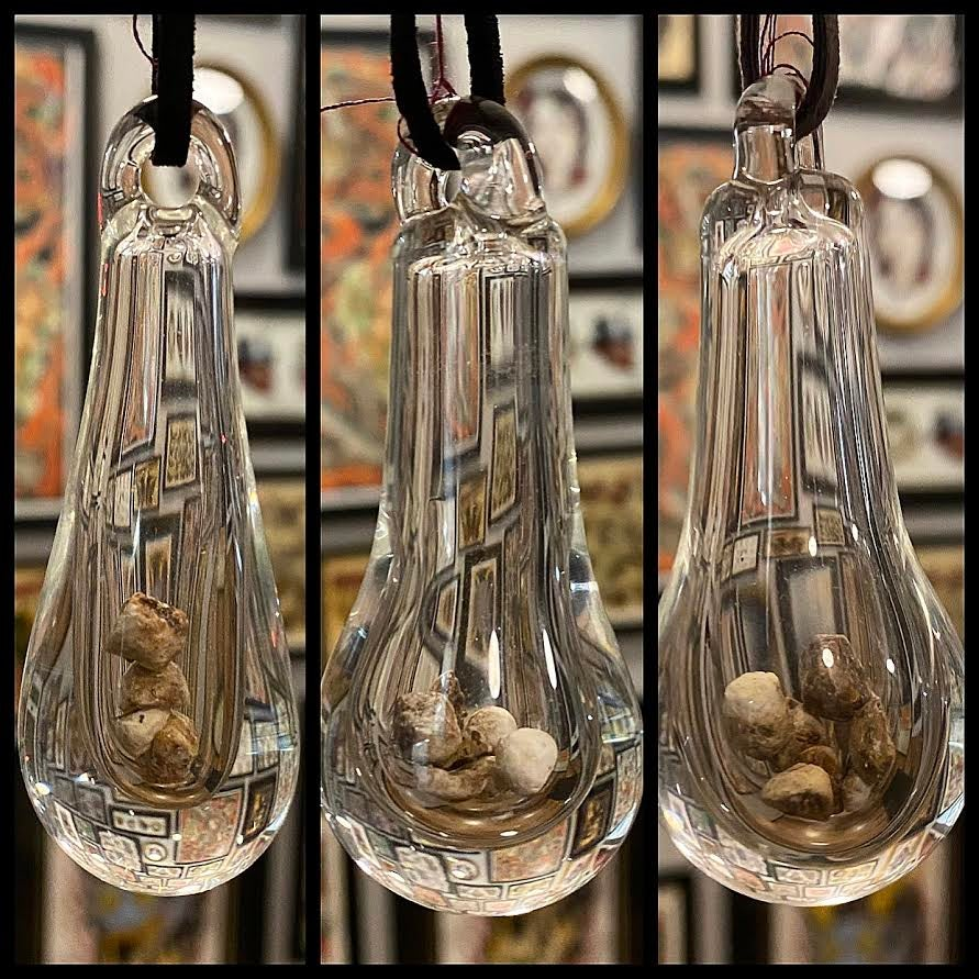 Image of Hand Blown Glass (Teardrop) Pendants Containing REAL Human Gallstones PT 8/8
