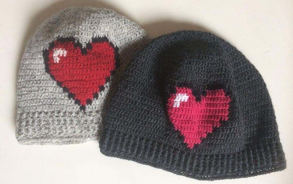"""Image of """"Heart"""" hue, hækleopskrift"""