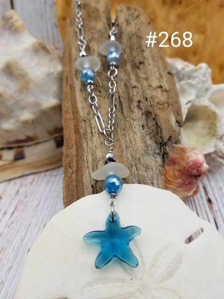 Image of Sea Glass- Swarovski Crystal Star Fish- Necklace- #269