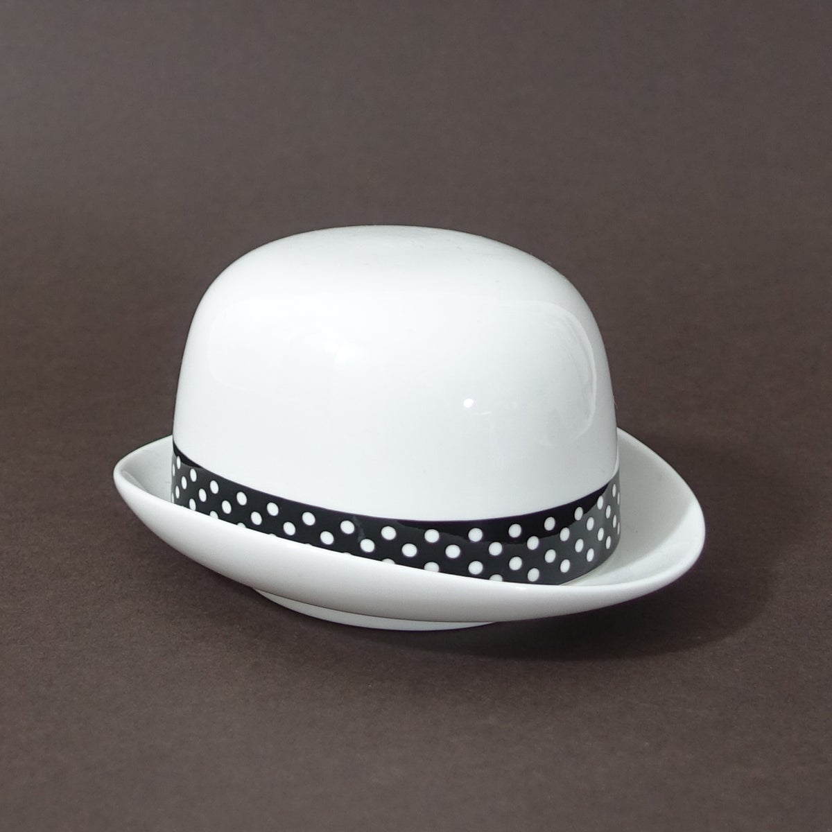 Image of Thomson & Thompson Black & White Polka Dot Sugar Bowl