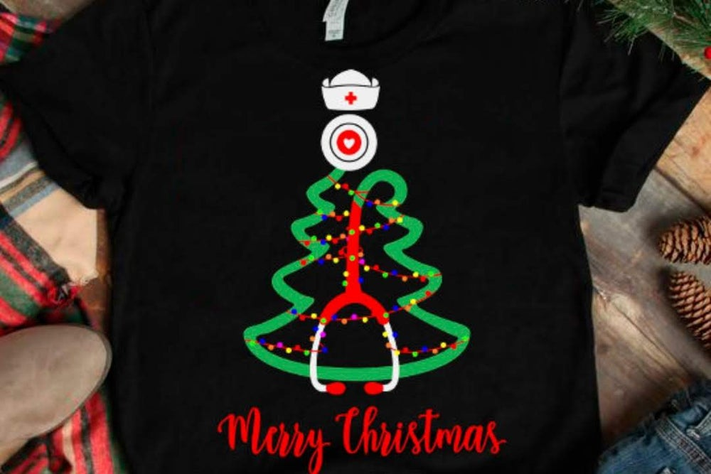 Image of Stethoscope Christmas Tree Shirt