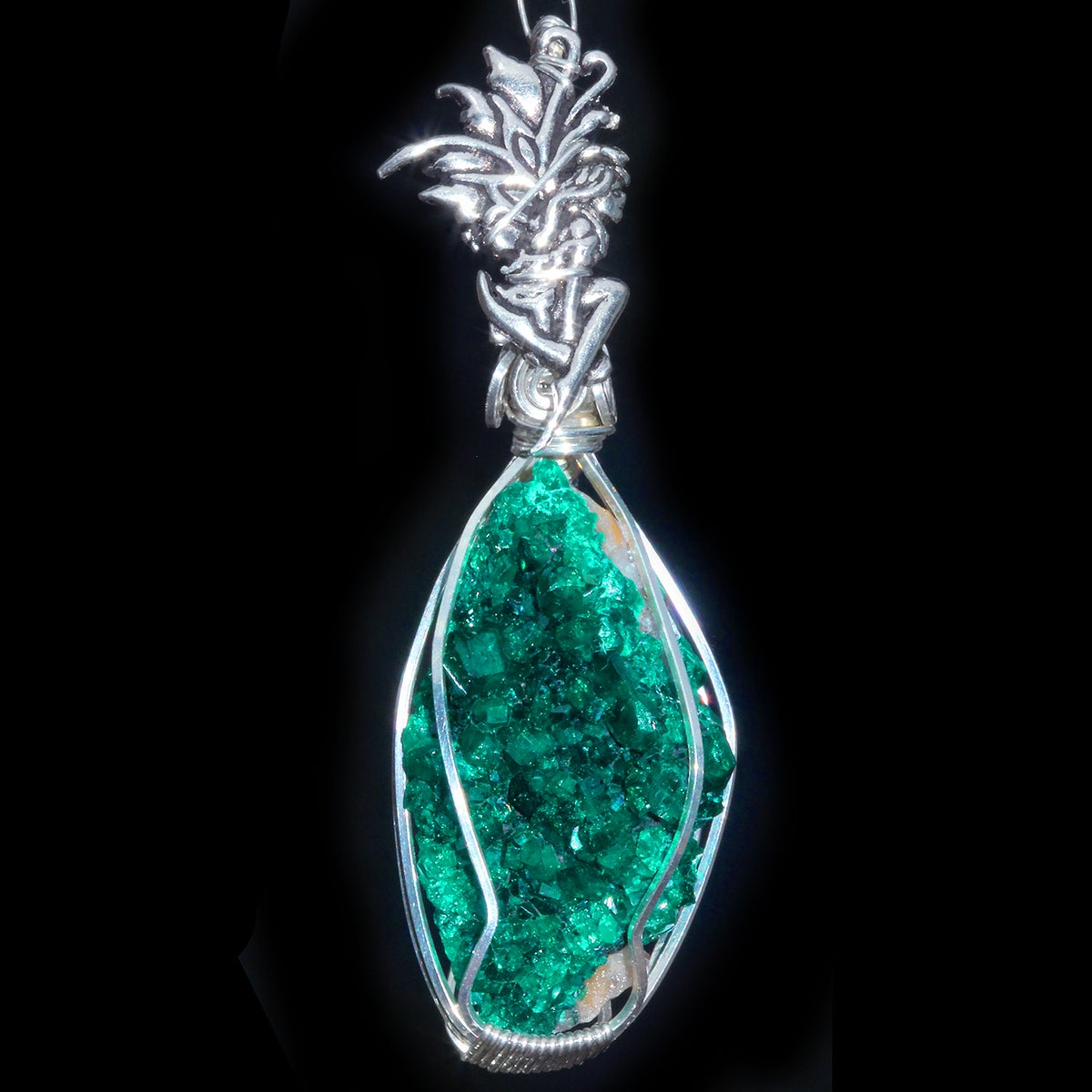 Dioptase Fairy Wire Wrapped Pendant