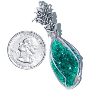Image of Dioptase Fairy Wire Wrapped Pendant