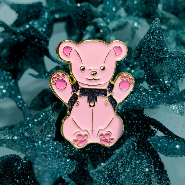 Image of Glitter Pin - Leather Bear
