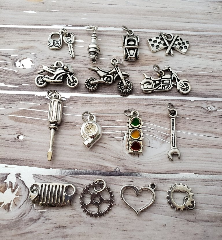 Image of Sterling Silver Car Part Charm Bracelet