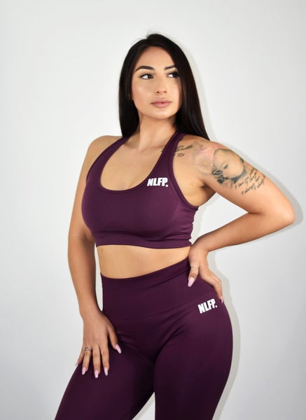 Image of VICTORIA SEAMLESS SPORT BRA DARK PURPLE