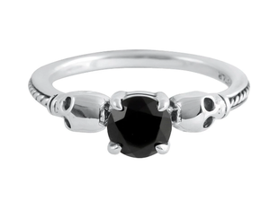 Image of Midnight reign skull ring (sterling silver)