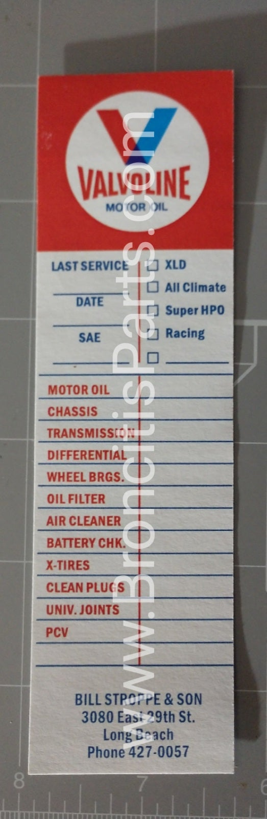 Image of Bill Stroppe & Son / Valvoline Service Decal