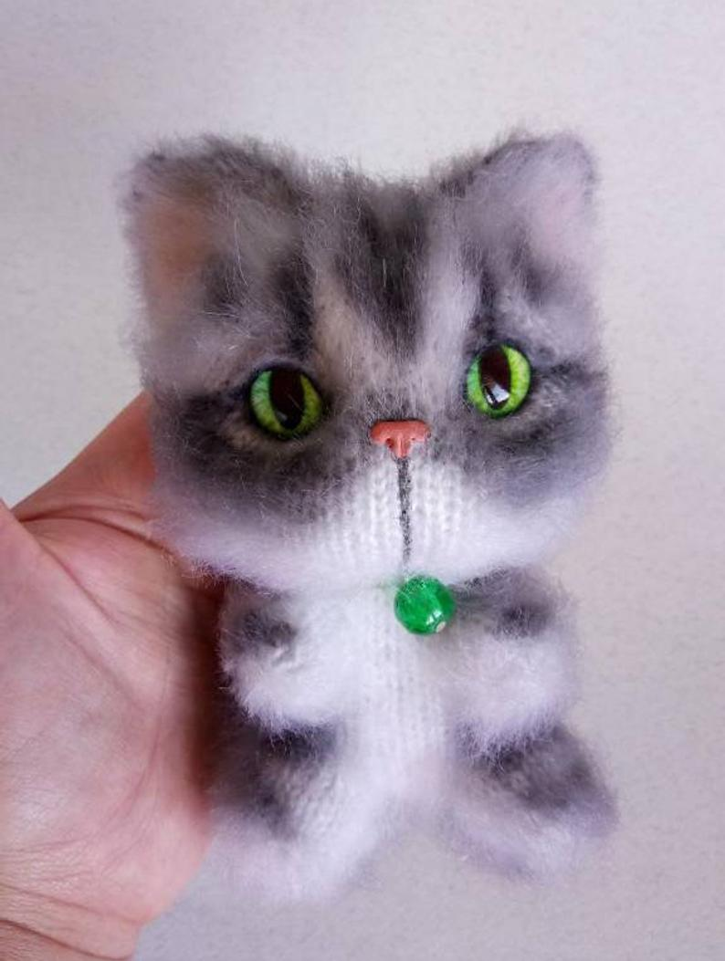 Image of Gray tabby cat, pet portrait, grey cat, striped kitten, toy tabby, cute plushie, cat lady gift