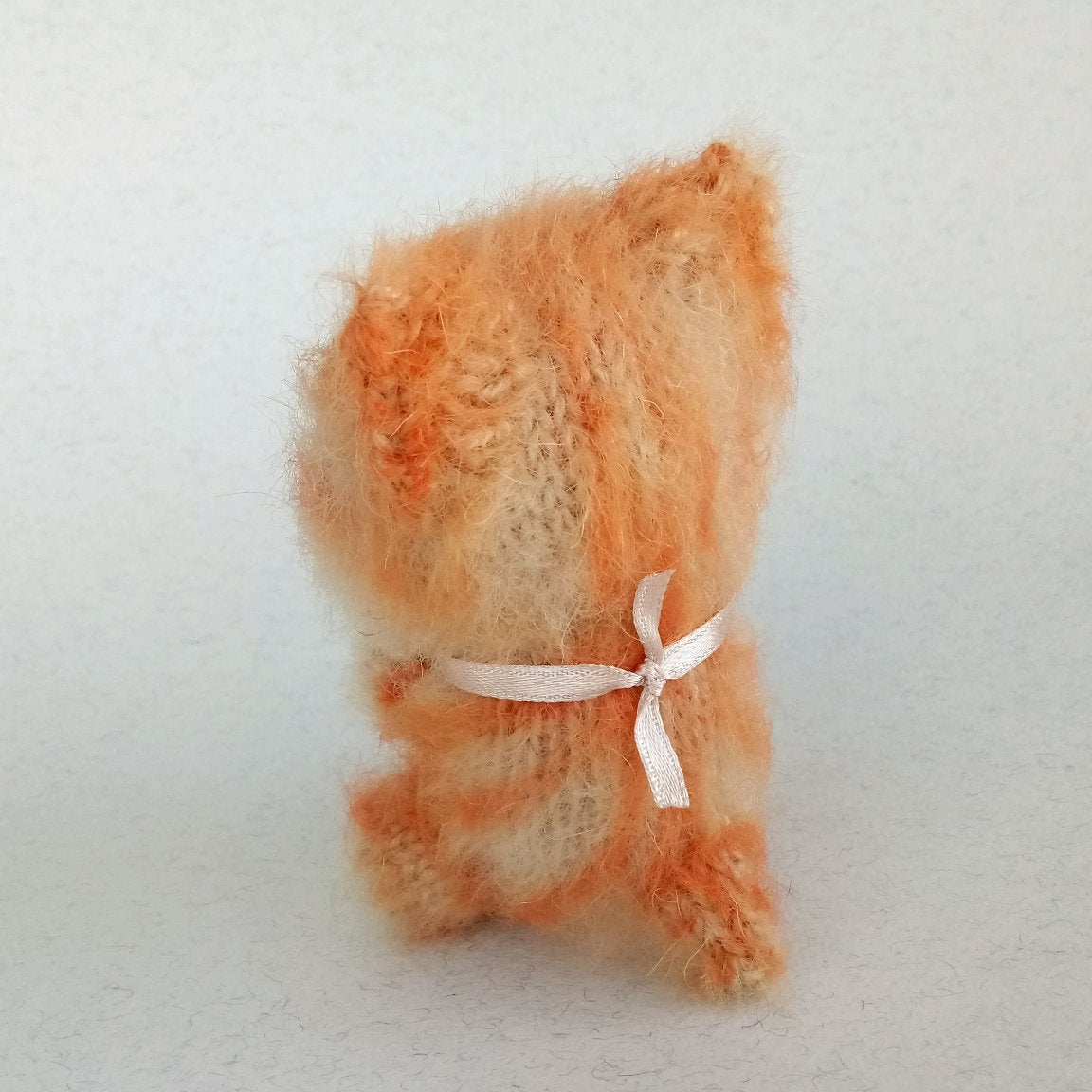 Image of Cat Lover Toy, Cute Plush Cat, Red Cat Knit Toy, Stuffed Kitty Cat, Kitty Stuffed Animal