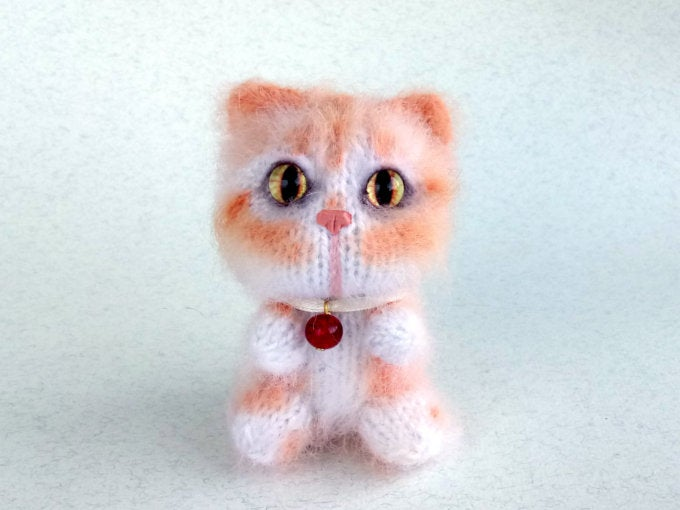 Image of Ginger White Tabby Plush Toy Cat, Perfect Cat Lover Gift