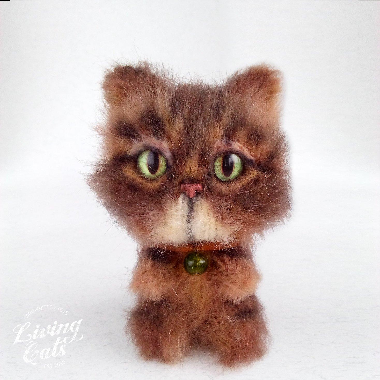 Image of Tabby cat plush, knit toy yarn cat, soft kitty, cat figurine, stuff cute kitten, cat lover gift