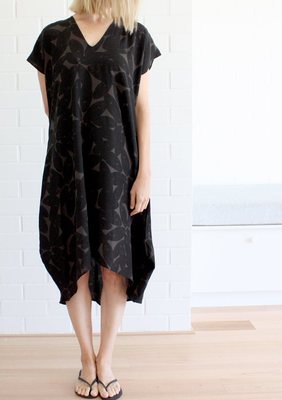 Image of Halftone Leaf Print Day Dress