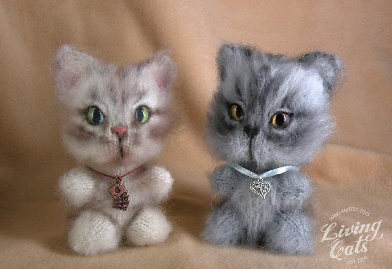Image of Knitted Chibi Kitten, Cute Toy Cat, Cat Lover Toys, Knit Cat Toy, Knit Striped Cat Toy