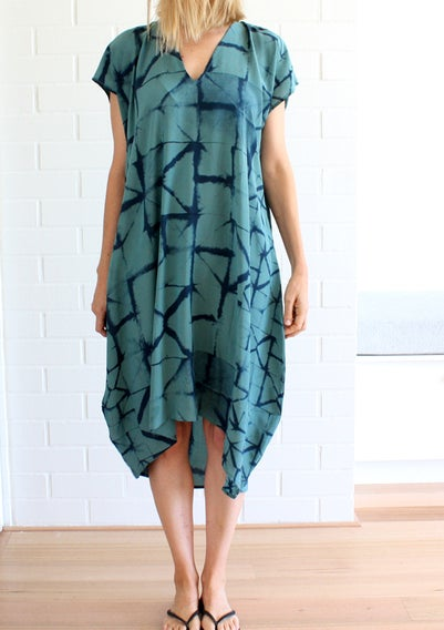 Image of Turquoise Paper Print Day Dress
