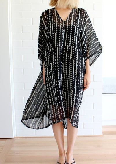Image of Bead Print Section Dress