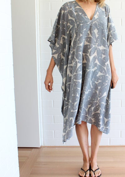 Image of Halftone Leaf Print Gap Neck Dress