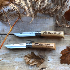 Image of Opinel No.8 Deer. Dog or Fish Engraved Knife