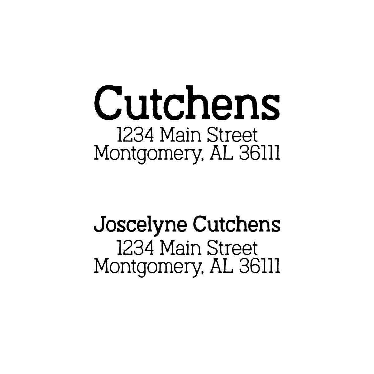 Image of Weathered Serif Address