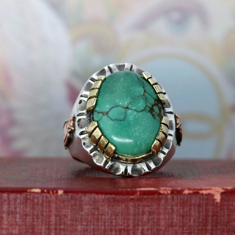 OVAL TURQUOISE MEXICAN BIKER RING