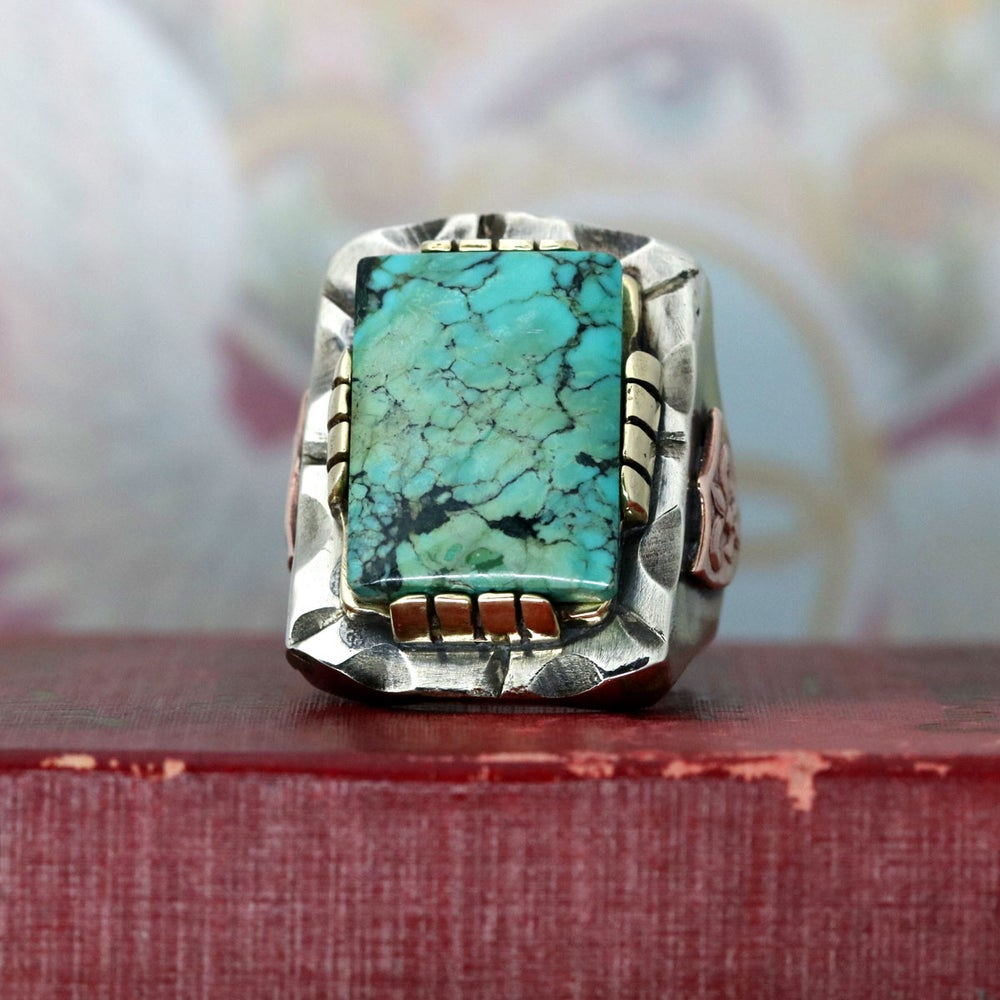 RECTANGLE TURQUOISE MEXICAN BIKER RING