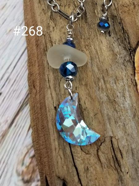 Image of Sea Glass- Swarovski Crystal Moon- Necklace- #268