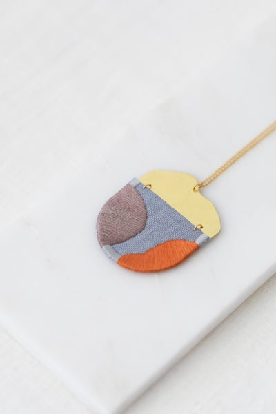 Image of INGEL pendant in Grey with Lilac and Orange
