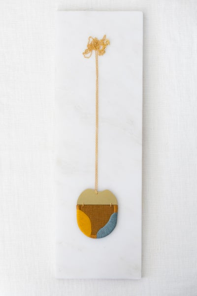Image of INGEL pendant in Ginger with Mustard and Steel