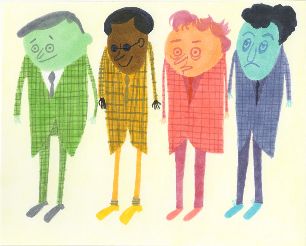 Image of The usual unusual suspects. Original drawing.