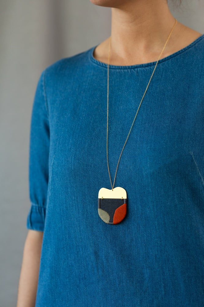 Image of INGEL pendant in Silt with Khaki and Rust