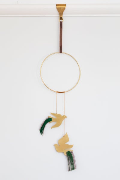 Image of Birds Wall Hanging in Emerald and Lilac