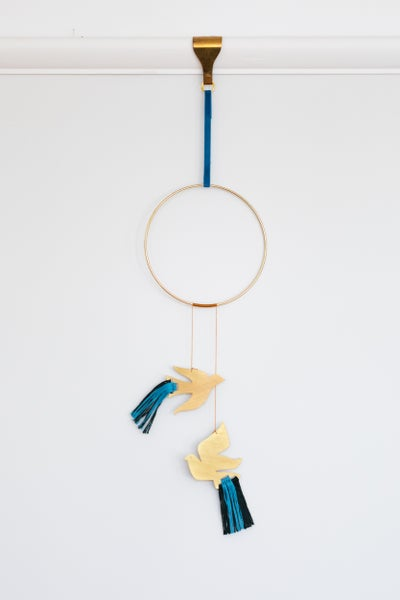 Image of Birds Wall Hanging in Bright Blue and Forest