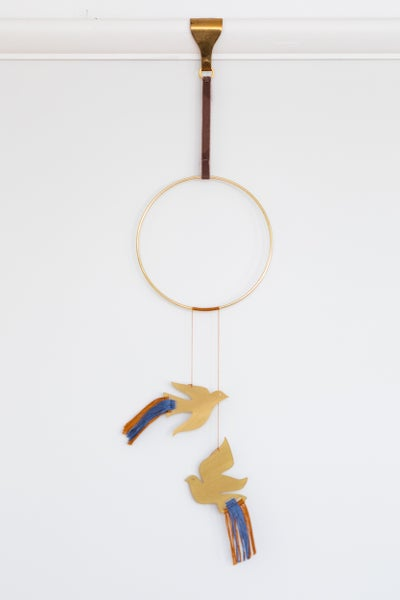 Image of Birds Wall Hanging in Blue and Gold