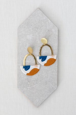Image of OLSEN earrings in Off White with Goldenrod and Blue