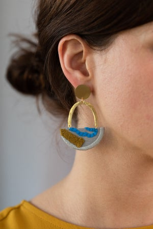 Image of OLSEN earrings in Grey with Olive and Bright Blue