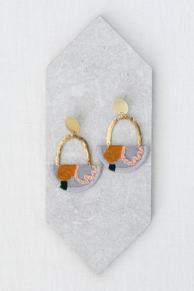 Image of OLSEN earrings in Grey with Pink and Goldenrod