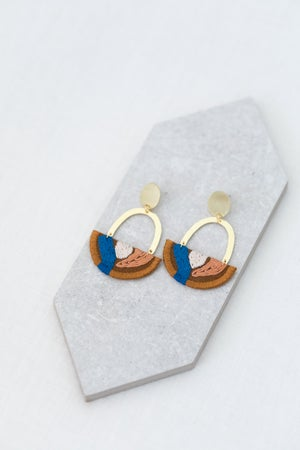 Image of OLSEN earrings in Tobacco with Blue and Tan