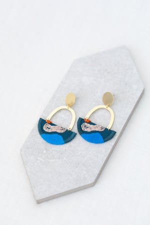 Image of OLSEN earrings in Indigo with Cobalt and Blush