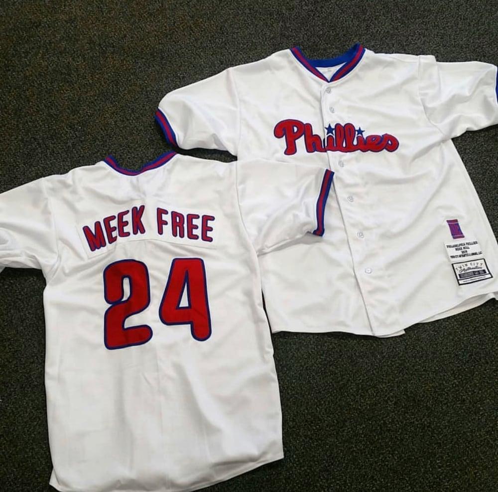"Image of ""Meek Free"" Philadelphia Phillies custom baseball jersey"